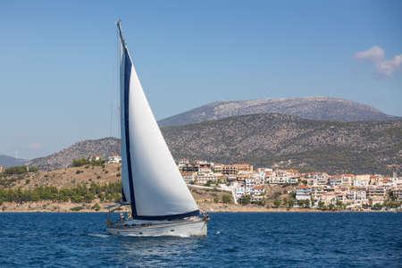 seas: Sailing, racing yachts on the high seas.