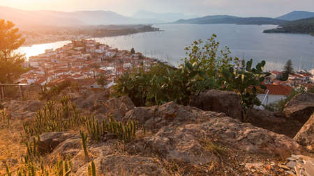 kefallonia: Top view of the landscape during sunset of Poros island, Greece.