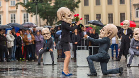 KRAKOW, POLAND - SEP 17, 2016: Participants of Krakow Theatre Night festival - KTO Teatre (Peregrinus) in Main Market Square. Entry to all shows of Theatre Night is free. Editorial