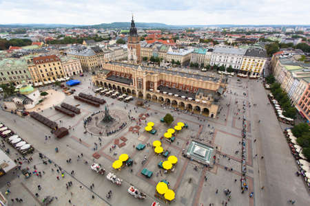 Top view of the Krakow Central Market Square, Poland.