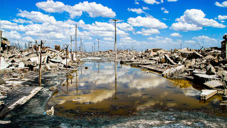 abandoned factory: Abandoned. The ruins of the Ghost town in Argentina. Stock Photo