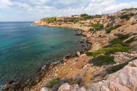 Rocky coast near Athens, Aegean sea, Greece.