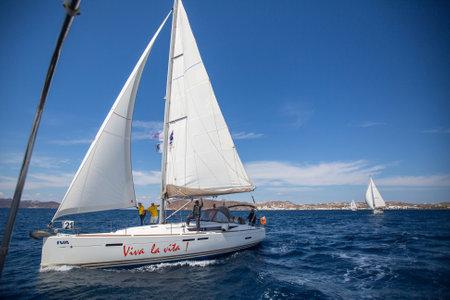 sep: MILOS, GREECE - SEP 26, 2016: Sailors participate in sailing regatta 16th Ellada Autumn 2016 among Greek island group in the Aegean Sea, in Cyclades and Saronic Gulf.