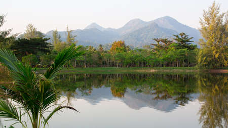 Landscape in Thailand, the mountains and the lake.