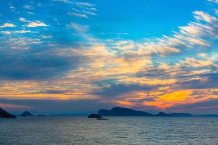 aruba: Beautiful sunset among the Islands in the sea.