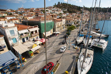 POROS, GREECE - OCT 6, 2016: Shot from the top of the mast during in sailing regatta 16th Ellada Autumn 2016 among Greek island group in the Aegean Sea, in Cyclades and Saronic Gulf. Editorial