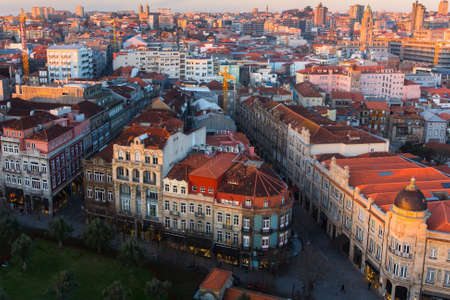 Birds-eye view old downtown of Porto at dusk, Portugal. Stock Photo