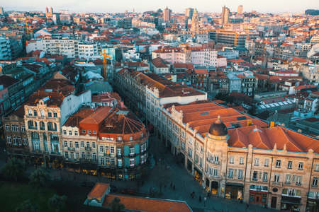 dom: Panorama of Porto from Clerigos tower, Portugal.