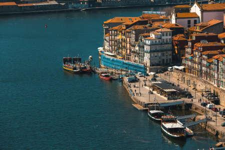 View of Douro river and Ribeira in Porto, Portugal.