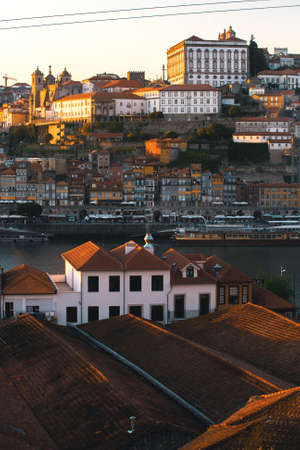 luis: Birds-eye view Douro river at old downtown of Porto, Portugal.