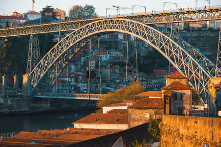 View of Douro river and Dom Luis I bridge, Porto, Portugal. Stock Photo