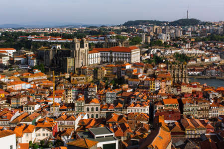 luis: Birds-eye view old downtown of Porto, Portugal. Stock Photo