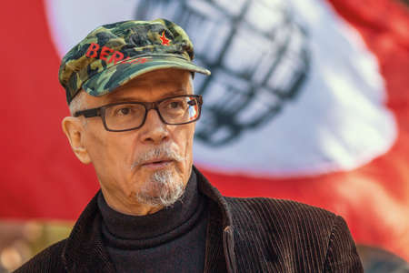 essayist: MOSCOW - MAY 1, 2016: Eduard Limonov - Russian writer, poet, essayist, politician, founder and former leader of the banned National Bolshevik Party, in rally marking the May Day.