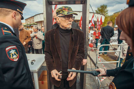 eduard: MOSCOW - MAY 1, 2016: Eduard Limonov - Russian writer, poet, essayist, politician, founder and former leader of the banned National Bolshevik Party, in rally marking the May Day.