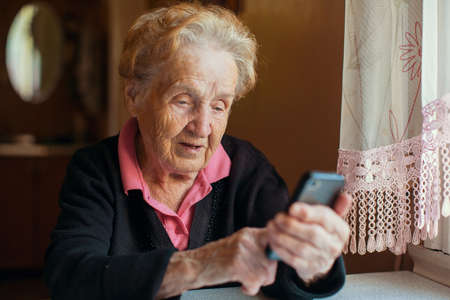 Old woman on phone