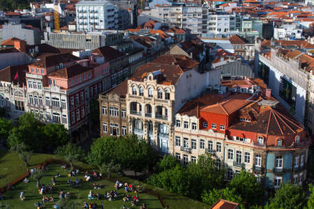 PORTO, PORTUGAL - APR 15, 2017: View of old Porto downtown from Clerigos Tower. City of Porto was elected from 20 selected Best European Destination 2017 and won this prestigious title. Editorial