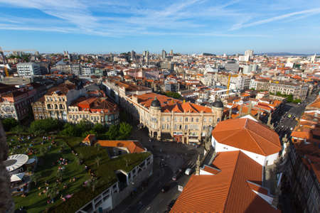 prestigious: PORTO, PORTUGAL - APR 15, 2017: View of old Porto downtown from Clerigos Tower. City of Porto was elected from 20 selected Best European Destination 2017 and won this prestigious title. Editorial