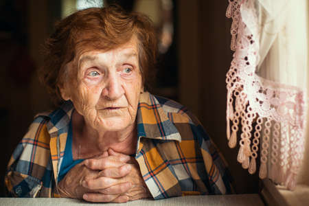 Russian elderly woman, 70-80 years, psychological portrait. Stock Photo