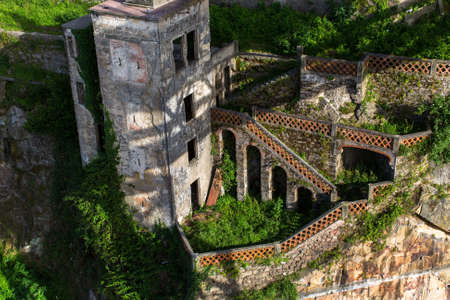 Abandoned house in old Porto downtown, Portugal. Ancient ruins of Europe. Stock Photo