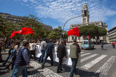 PORTO, PORTUGAL - MAY 1, 2017: Celebration of May Day in the Oporto centre. General Confederation of Portuguese workers, traditionally associated with the Communist party, has 800.000 members. Editorial