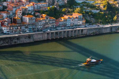 Birds-eye view of Douro river, Porto, Portugal.