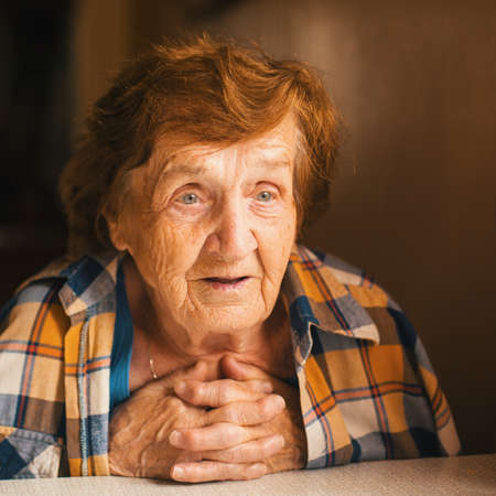 Portrait of an elderly woman. 80 years. Stock Photo