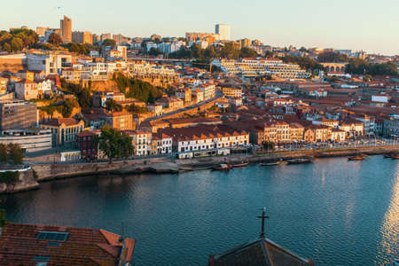 Birds-eye view of the Douro river and waterfront Vila Nova de Gaia, Porto, Portugal.