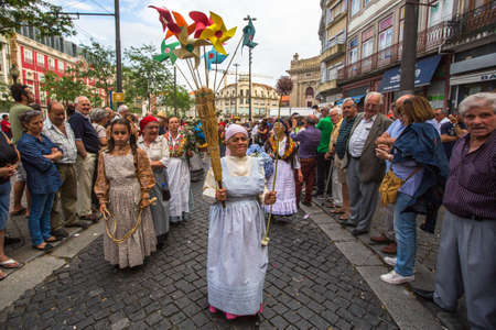 PORTO, PORTUGAL - JUN 25, 2017: Festival of St John (Festa de Sao Joao). Happens every year and has the status of the citys most important festival, yet it is relatively unknown outside the country.