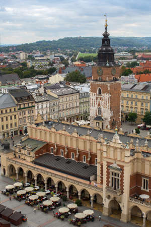 KRAKOW, POLAND - SEP 20, 2016: Top view of a historic buildings in the Old Sity. Krakow has been awarded a number of top international rankings such as the 1st place in the Top city-break destinations.