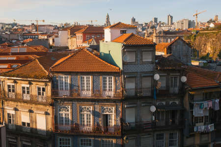 Residential buildings in the old part of Porto, Portugal. Stock Photo