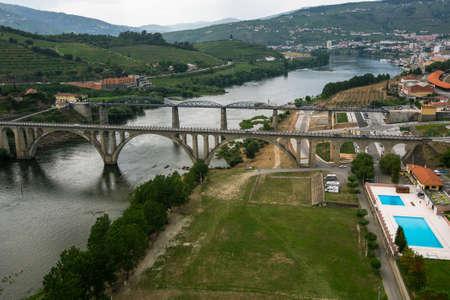 Top view of Peso da Regua city, northern Portugal.