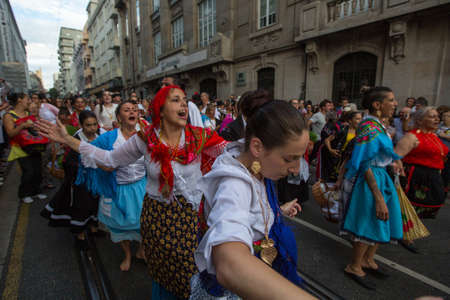 st: PORTO, PORTUGAL - JUN 25, 2017: Festival of St John (Festa de Sao Joao). Happens every year and has the status of the citys most important festival, yet it is relatively unknown outside the country.