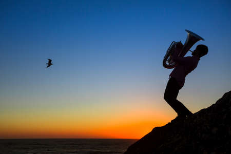 Silhouette of musician play Tuba on sea shore at amazing sunset. Stock Photo