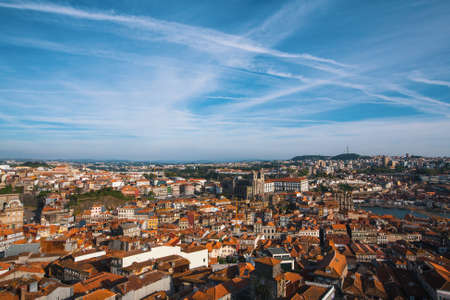 Birds-eye view of old downtown Porto, Portugal.