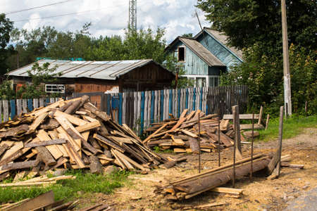 Typical residential wooden house in settlements in Leningrad region, Russia.