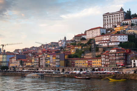 ribeira: View of Douro river and Ribeira in old downtown, Porto, Portugal. Stock Photo