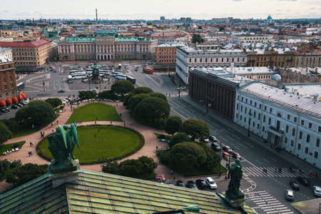 st petersburg: View of Saint Isaacs square from St. Isaacs Cathedral in St. Petersburg, Russia. Stock Photo