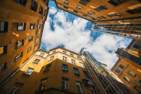 Courtyard structure shapes in Saint Petersburg, Russia.