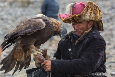 BAYAN-ULGII, MONGOLIA - SEP 30, 2017: Mongolian Kazakh Eagle Hunter traditional clothing, holding a golden eagle on his arm in desert mountain of Western Mongolia. Editorial