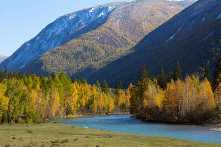 View of the Katun river in the Altai mountains, Russia. Stock Photo