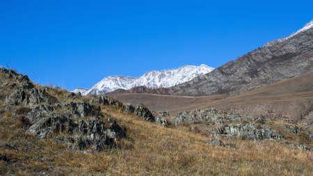 Tract Kalbak-Tash in Altai mountains, Russia. Stock Photo