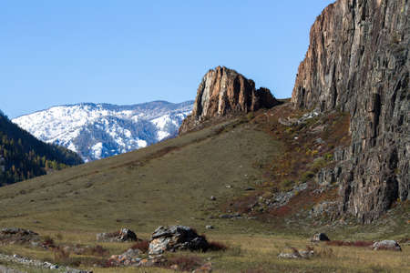 Rocks and stones in the Altai mountains, Russia.