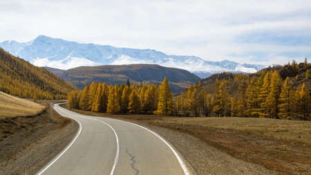 Chuya highway and mountain North-Chuya ridge of Altai mountains, Russia.