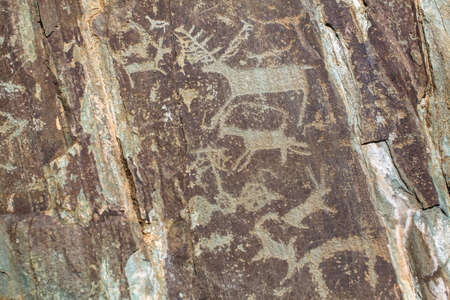Ancient rock paintings - petroglyphs in the Altai Mountains, Russia.