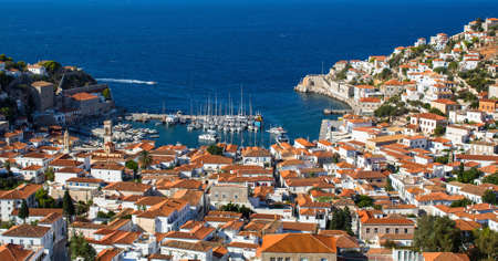 Marina of Hydra island, Greece.