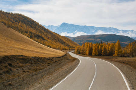 Highway Chuysky Trakt at autumn in Altai Republic, Russia.