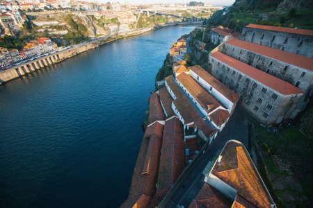 View of side Villa Nova de Gaia at Douro river, Porto, Portugal.