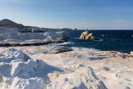 Mineral formations on the coast of Milos island (Moon landscape) Aegean sea, Greece. 版權商用圖片