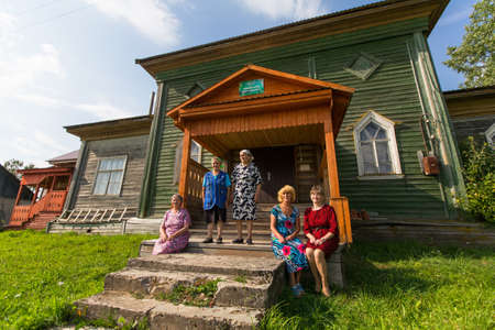 LADVA (VEPSIA) LENINGRAD.REG, RUSSIA - AUG 11, 2018: Vepsian locals women in the rural social club. Veps language included in the 2009 UNESCO Atlas of the world's endangered languages as endangered. Editöryel