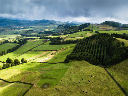 Aerial view of green fields of San Miguel island, Coal Peak Viewpoint, Azores, Portugal.